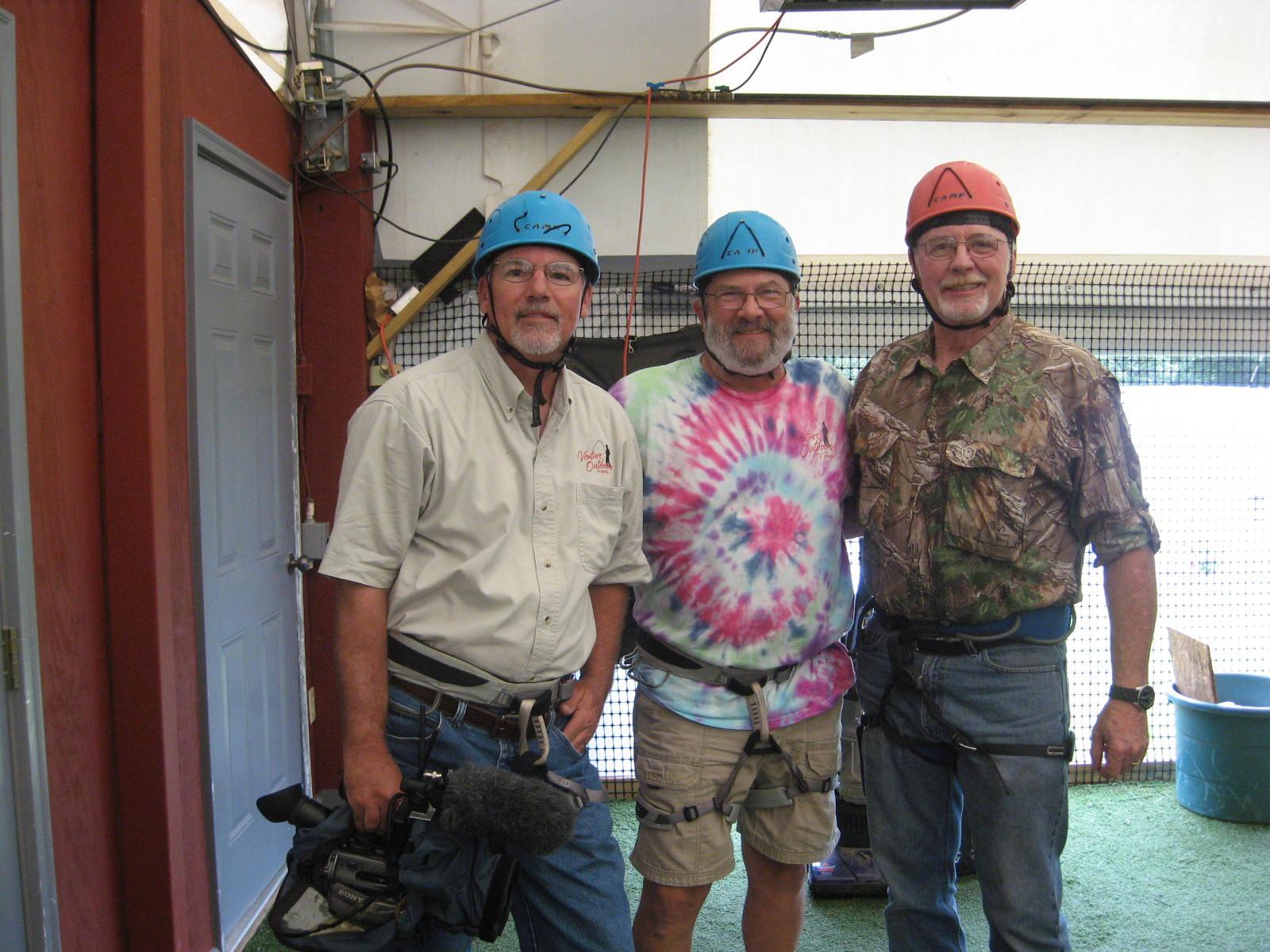 Curt Gantt, Don Day and Steve Kynard suited up to Zipline